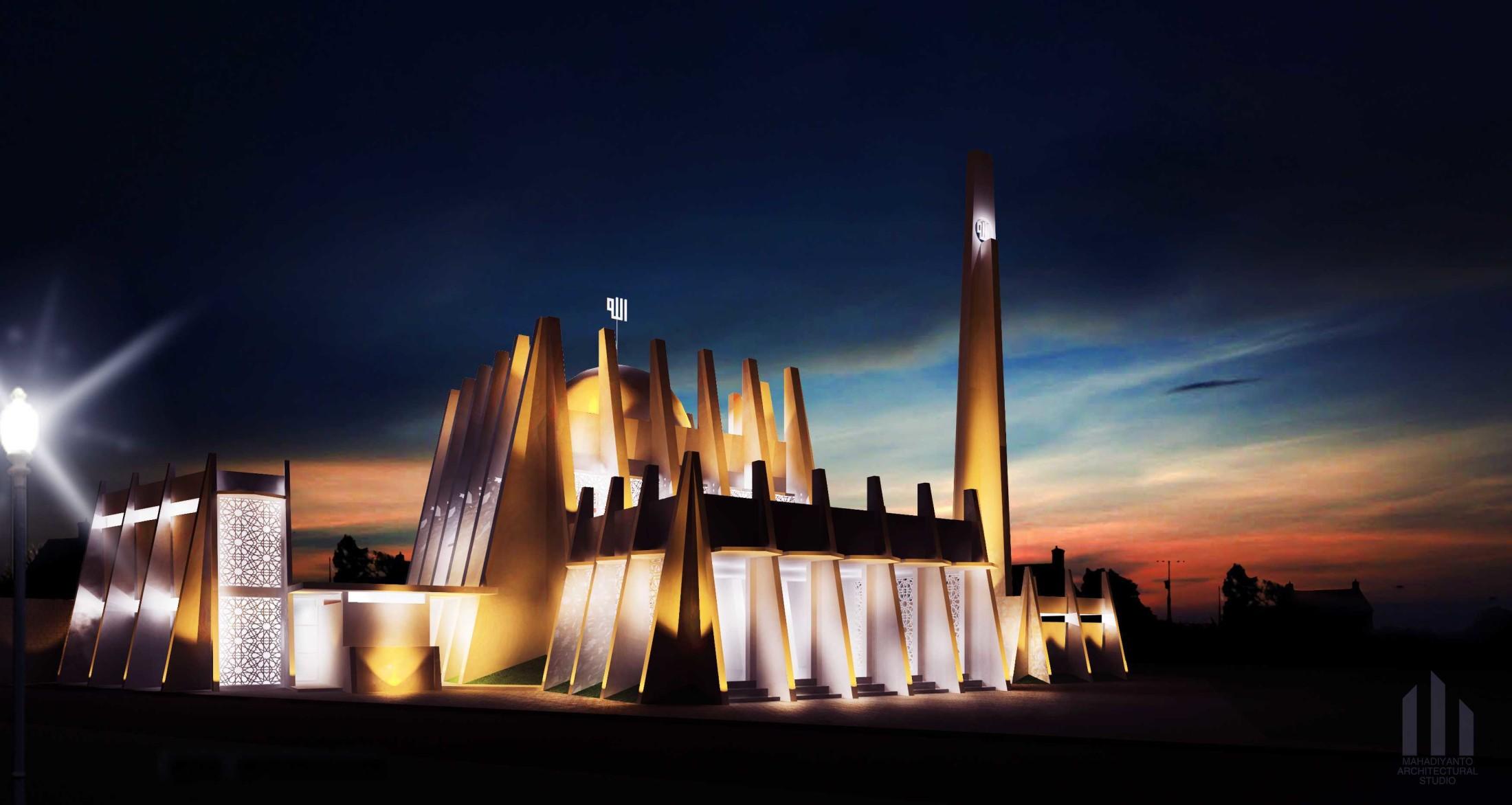 Desain masjid ini terinspirasi oleh bentuk jari-jari tangan manusia saat sedang berdoa dengan kubah berbentuk lafaz Allah sebagai simbol penyerahan diri manusia kepada Sang Pencipta. Tiang-tiang miring besar yang berwarna putih mengelilingi masjid membuat tampilan bangunan ini tampak megah, suci, kokoh, sekaligus unik.