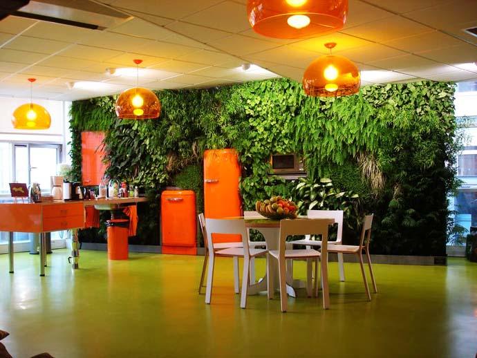 Jika Anda tidak suka unsur warna pada tanaman hijau, Anda bisa mengakalinya dengan penggunaan pot atau perabot warna-warni, atau teknik pencahayaan yang tepat.