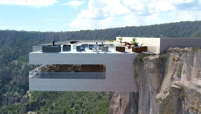 Restoran yang menggantung di pinggir jurang dengan pemandangan lembah di bawahnya ( sumber : hexapolis.com)