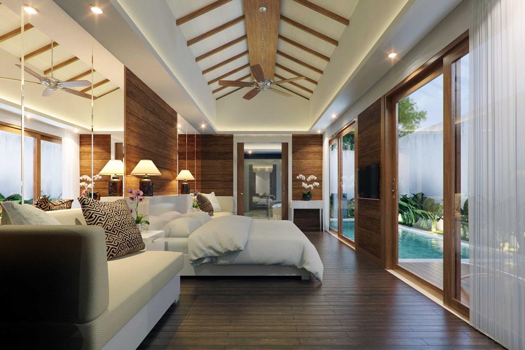 Desain interior kamar tidur Asuri Villa di Bali karya Made Dharmendra Architect (Sumber: arsitag.com)