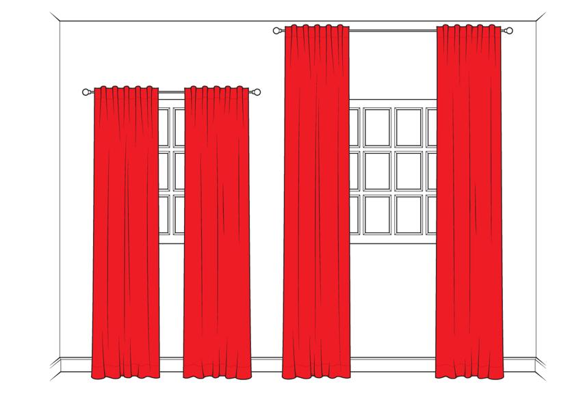 Tahukah Anda bahwa menggantung gorden dengan posisi yang lebih tinggi dari puncak jendela akan membuat kesan seolah-olah langit-langit rumah terlihat tinggi? Letakkan ujung penutupjendelaAnda mendekati langit-langit dan beri ruang melebar yang lebih agar cahaya bisa masuk lebih banyak ke dalam rumah.