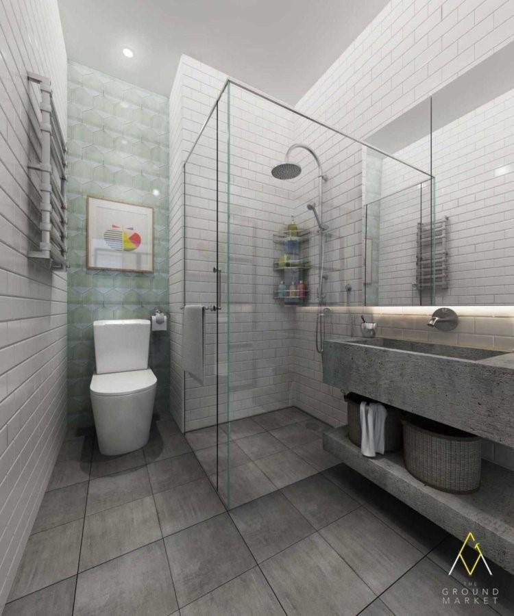 Garis horizontal tak terputus sangat menonjol dalam kamar mandi kontemporer. Bidang lengkung dan bergelombang tidak terlihat di sini. Desain hardware kabinet juga dibiarkan tetap basic berupa garis lurus.