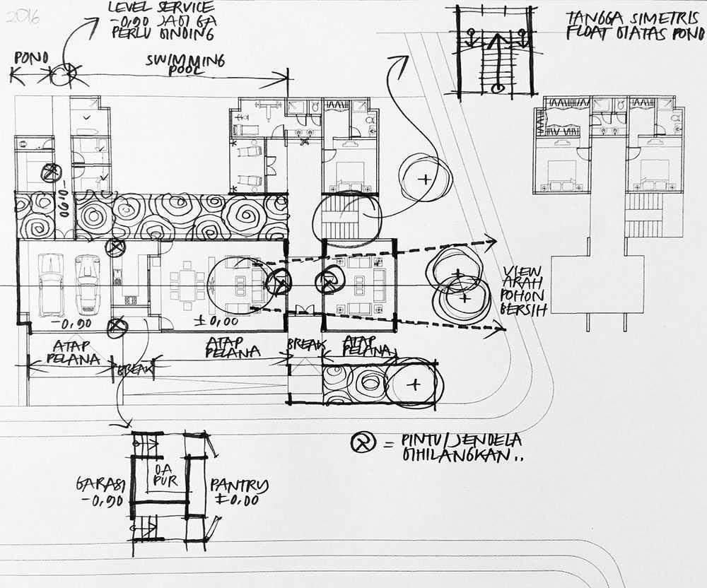 Salah satu sketsa rumah dari arsitek Ari Widio (Sumber: monokroma-architect.com)