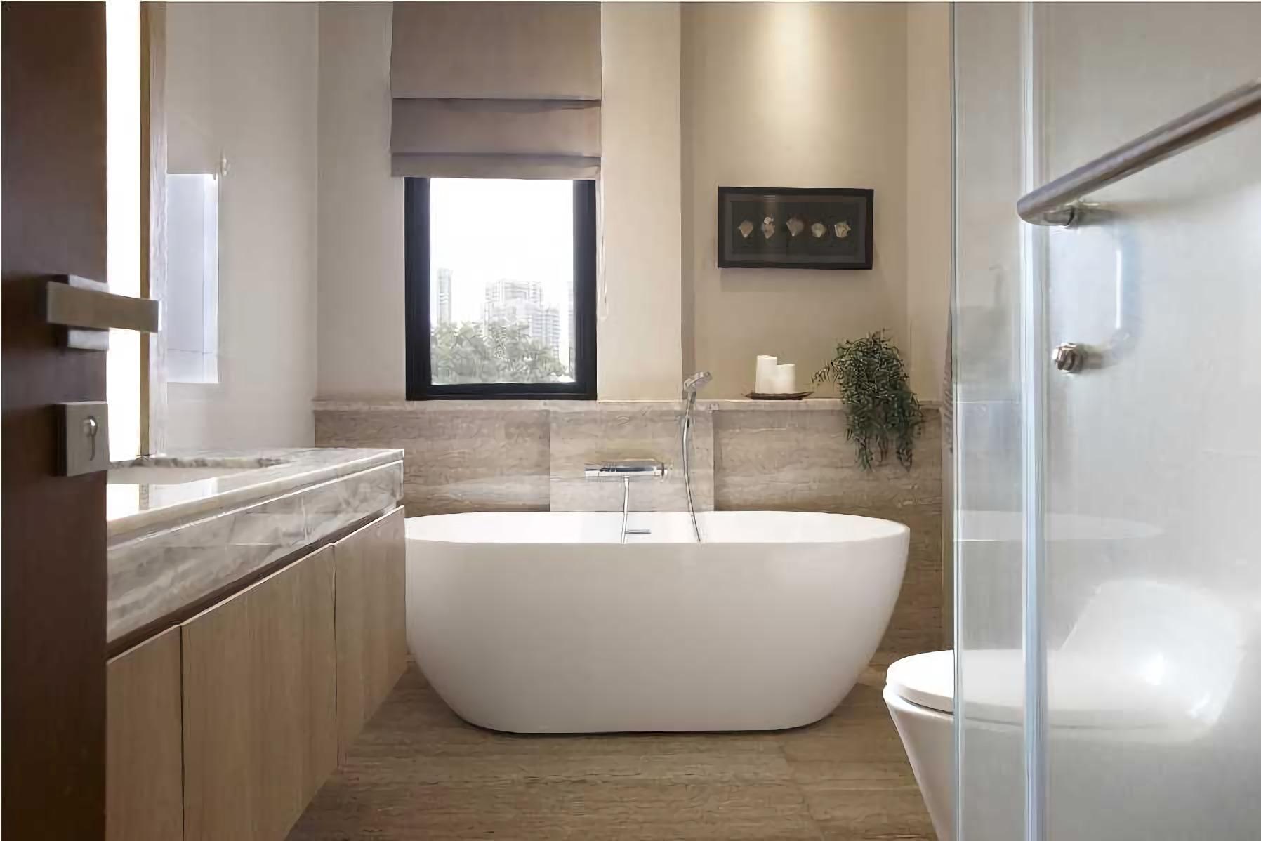 Kamar mandi skandinavian dengan sedikit sentuhan tropis dari pilihan warna dan corak granit (Sumber: arsitag.com)