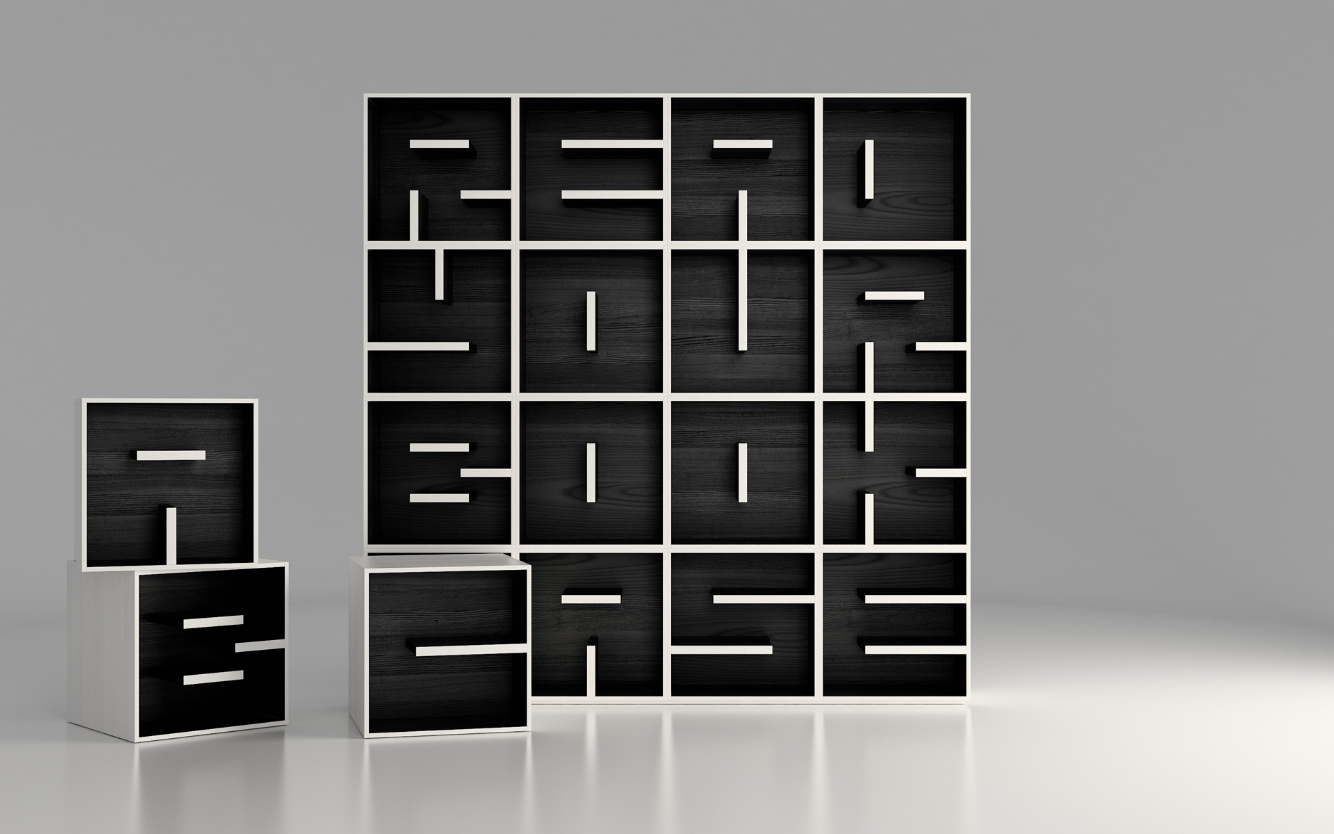 Desain ABC yang unik untuk sebuah rak buku (Sumber: saporiti.net)