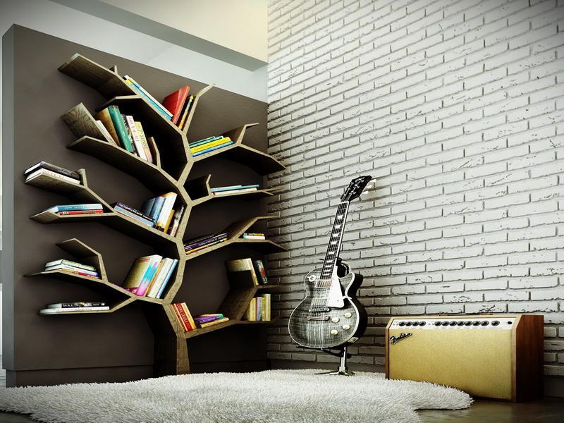 Desain rak buku yang terinspirasi dari bentuk pohon (Sumber: gearnova.com)