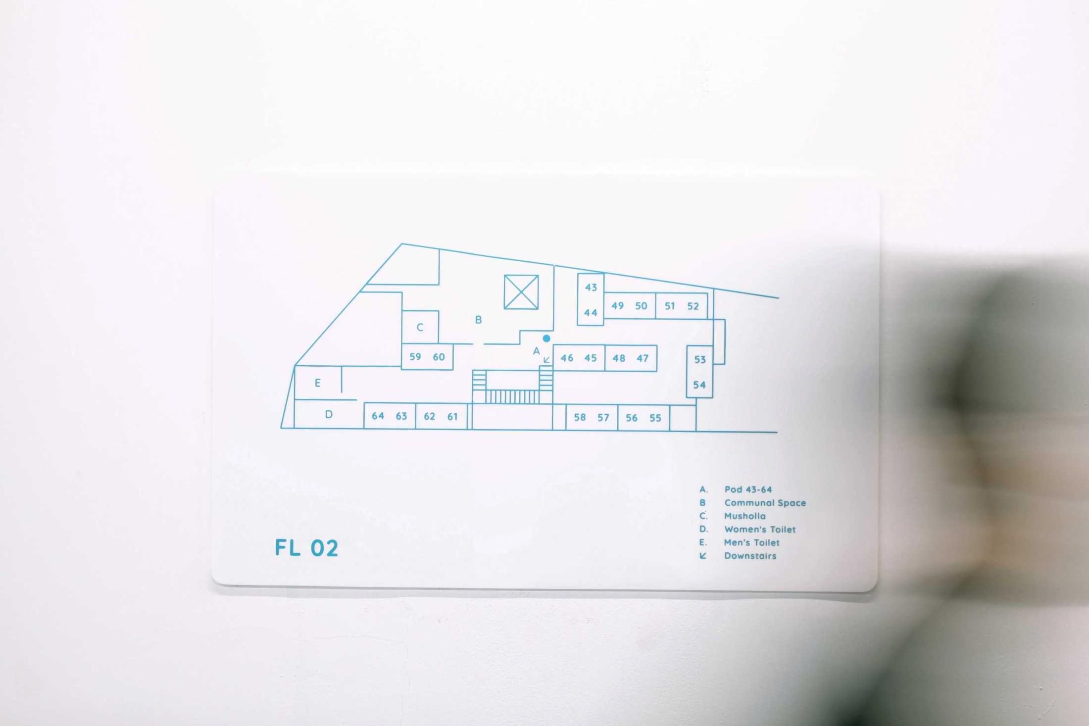 Denah Bobobox, hotel mungil di lahan terbatas dengan desain dan kenyamanan maksimal (Sumber: arsitag.com)