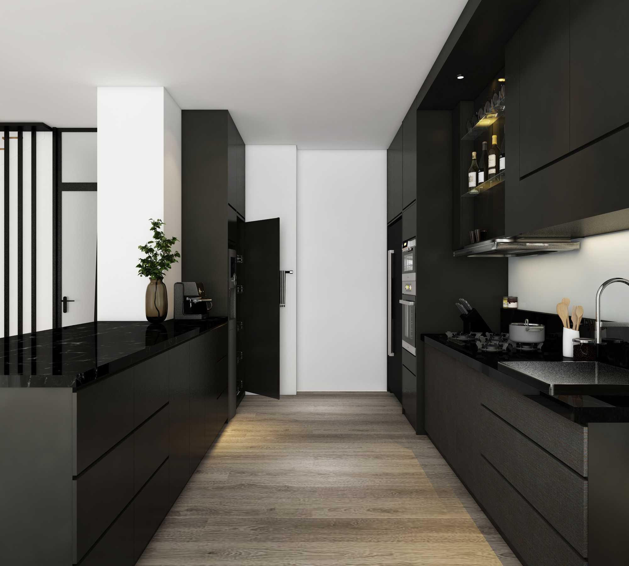 Kombinasi Abadi Hitam dan Putih sebagai Warna Dapur