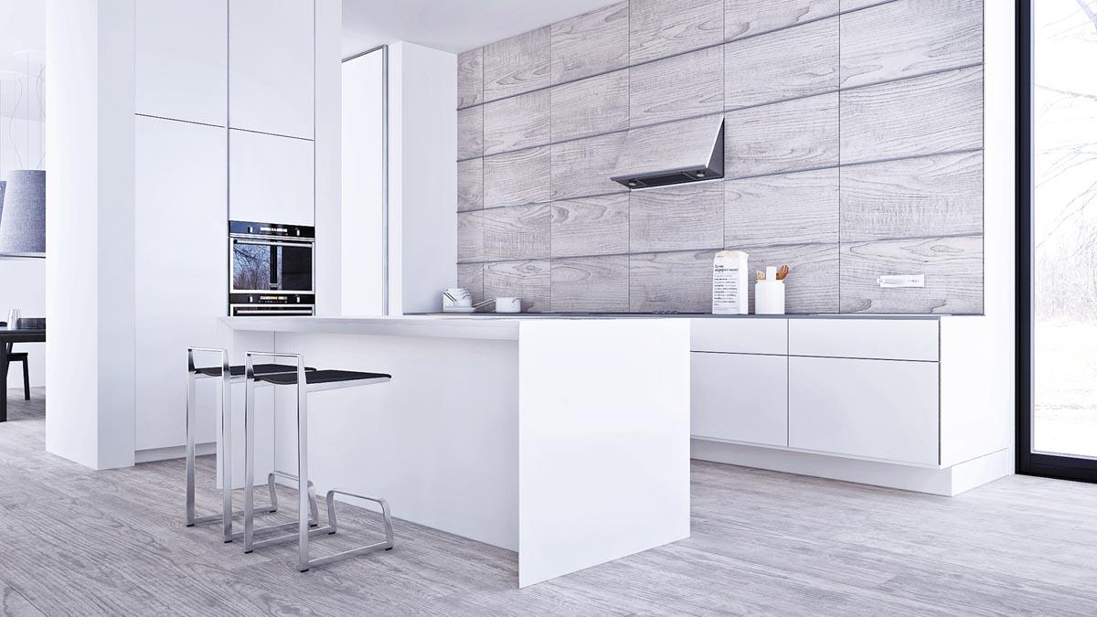 Dapur dengan Sentuhan Warna Putih dan Abu-abu