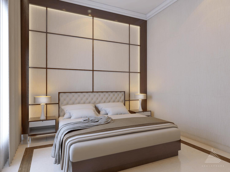 Kamar tidur dengan warna coklat dan krem yang berkesan hangat karya Garisprada (Sumber: arsitag.com)