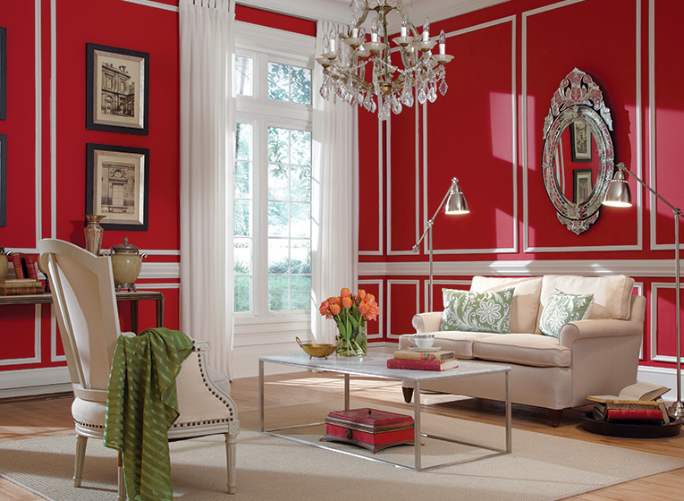 Accent wall warna merah yang memukau dihadirkan ACE Paints (Sumber: thepaintstudio.com)