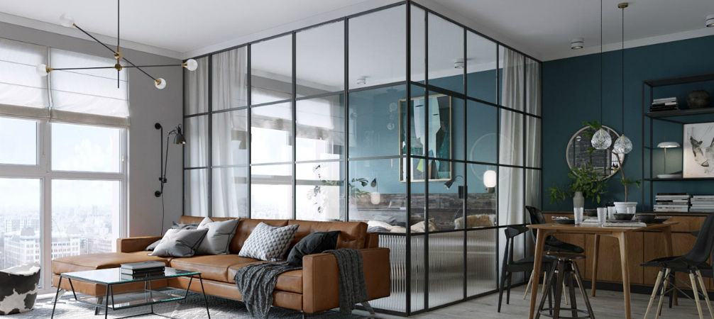 Kamar Tidur Open-Plan dengan Dinding Kaca