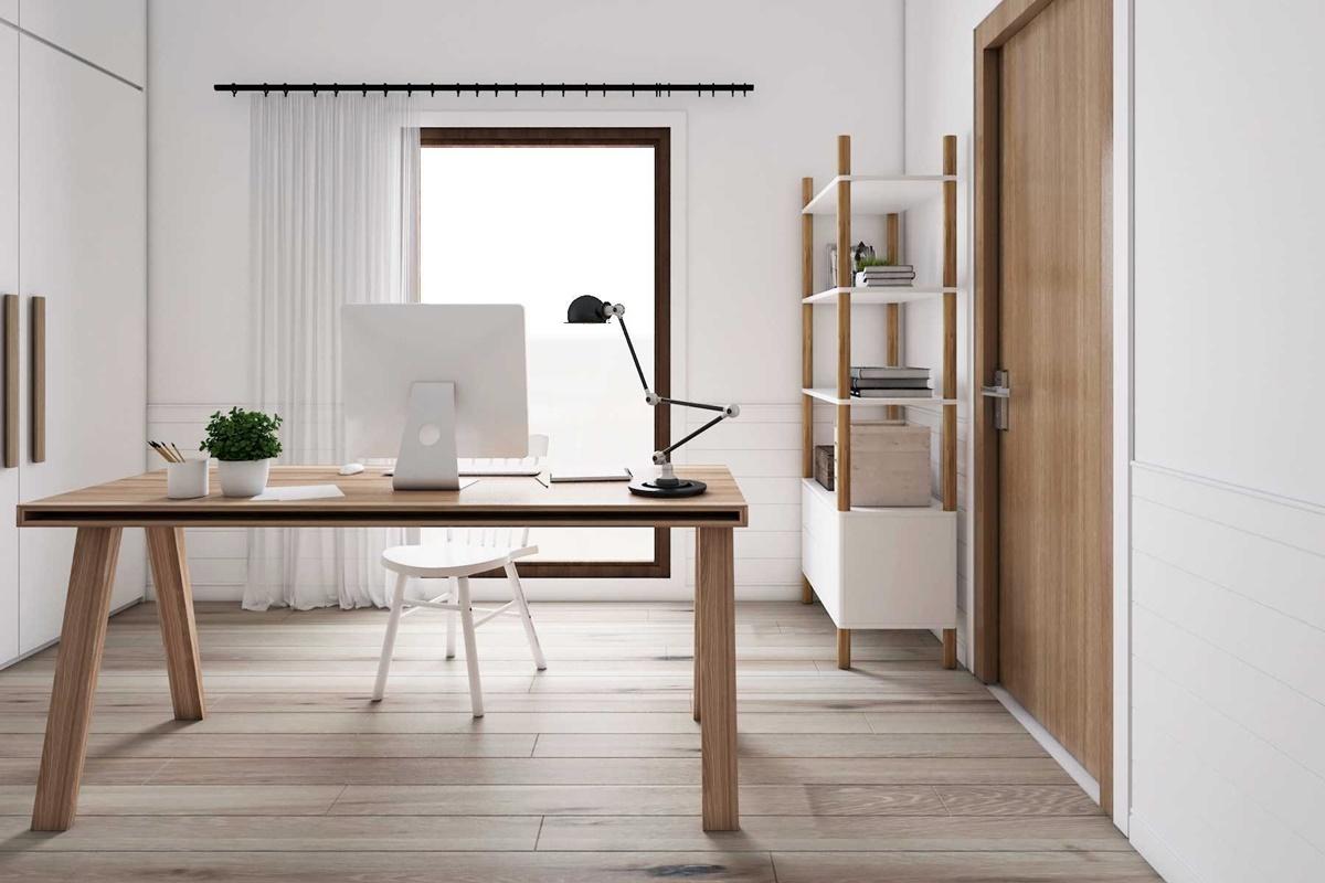 Home office Scandinavian di Medan karya La.Casa (Sumber: arsitag.com)