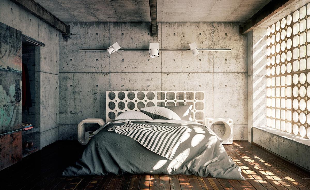 Dominasi material beton dalam ruangan (Sumber: vudumotion.com)