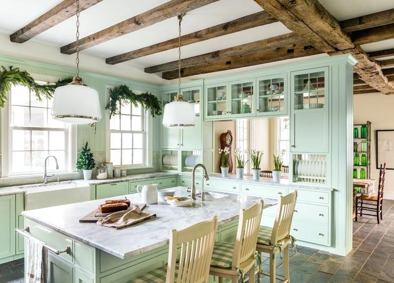 Dapur dengan Warna Mint Alami