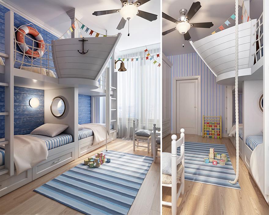 Kamar Tidur Anak dengan Tema Nautical