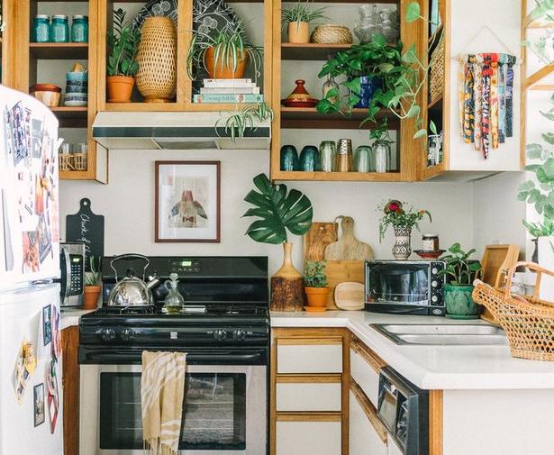 Jadikan tanaman sebagai pelengkap dapur untuk sentuhan bohemian impian (Sumber: hunker.com)