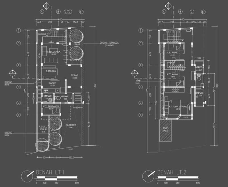 Contoh denah rumah dari arsitek untuk proyek Rumah Kecil at Ozone Residence karya Akanoma Yu Sing (Sumber: arsitag.com)