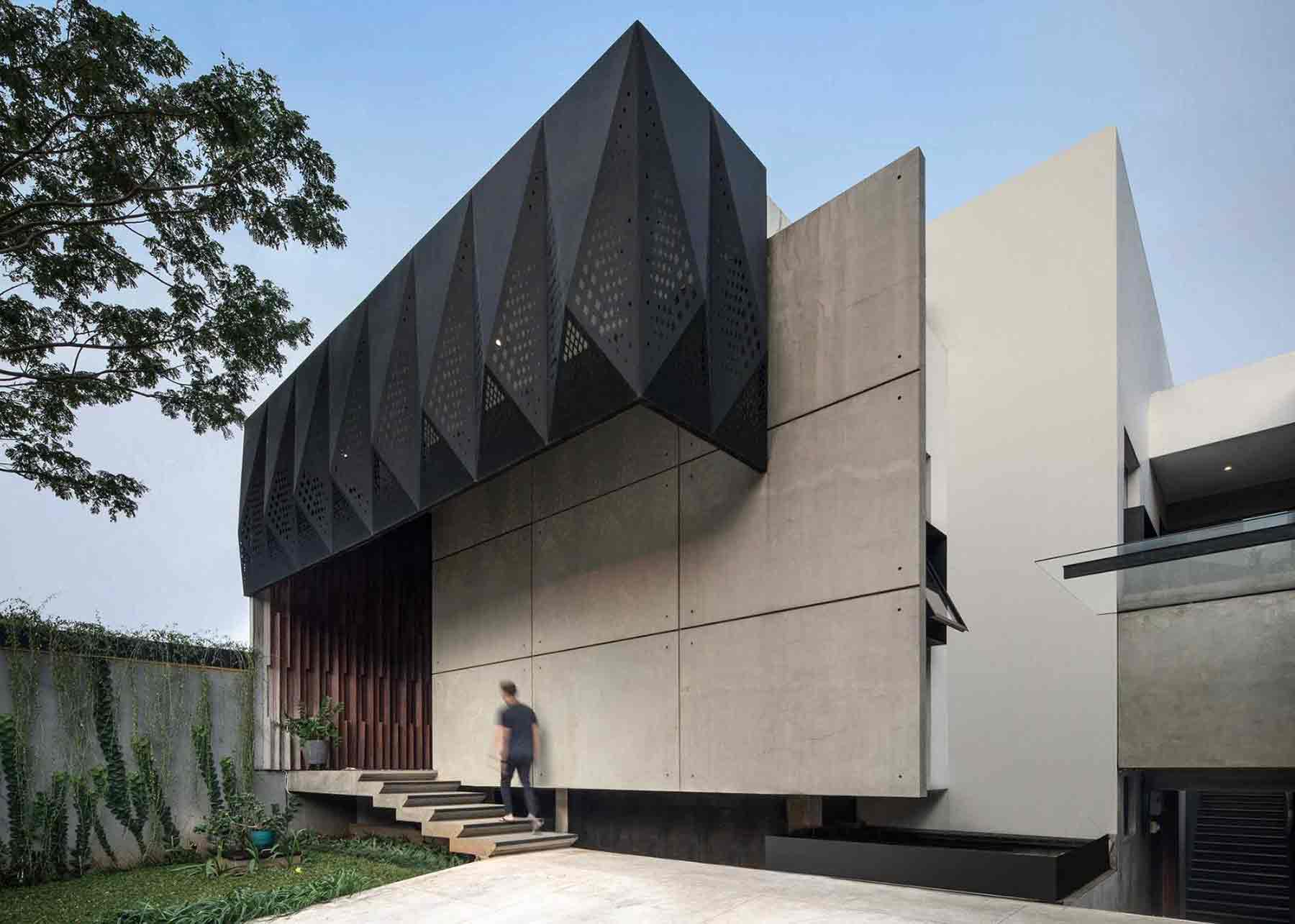 Pola geometris pada atap teras rumah, viaarsitag.com