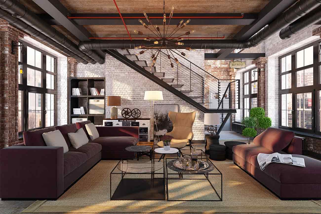 Suasana unik ruang keluarga bergaya industrial, via archilovers.com
