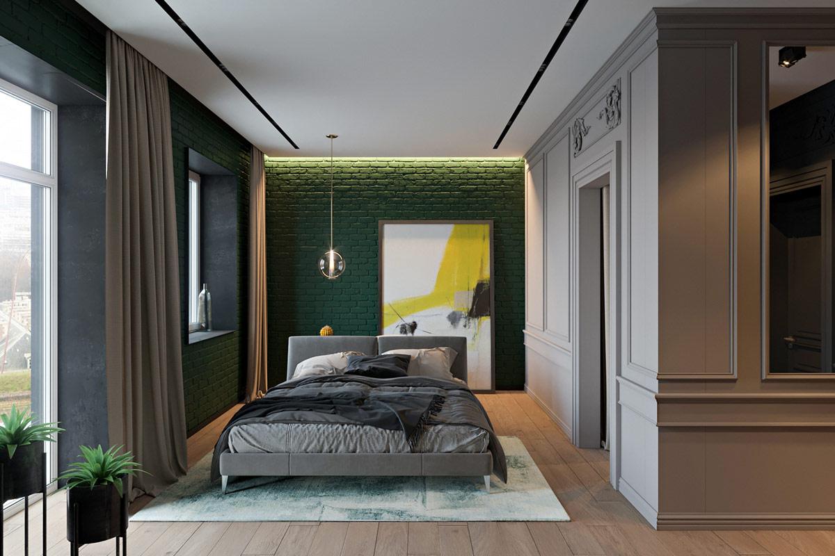 Kombinasi hijau dan abu-abu dalam kamar tidur (Sumber: home-designing.com)