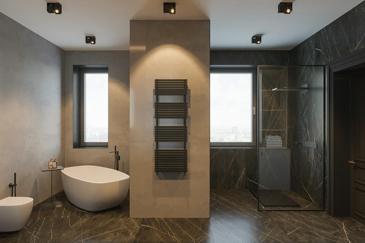 Pemisah visual berupa perbedaan warna dalam kamar mandi (Sumber: home-designing.com)