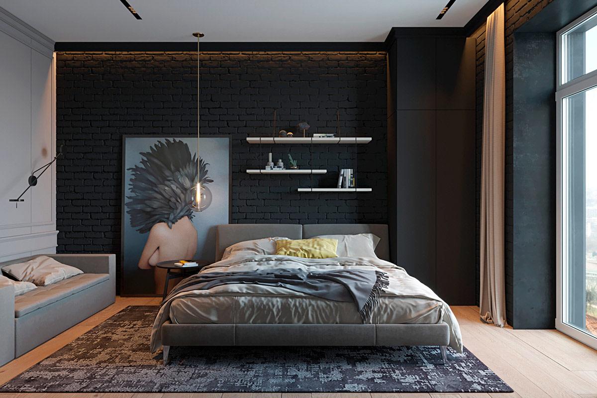 Pesona hitam untuk dinding bata ekspos (Sumber: home-designing.com)