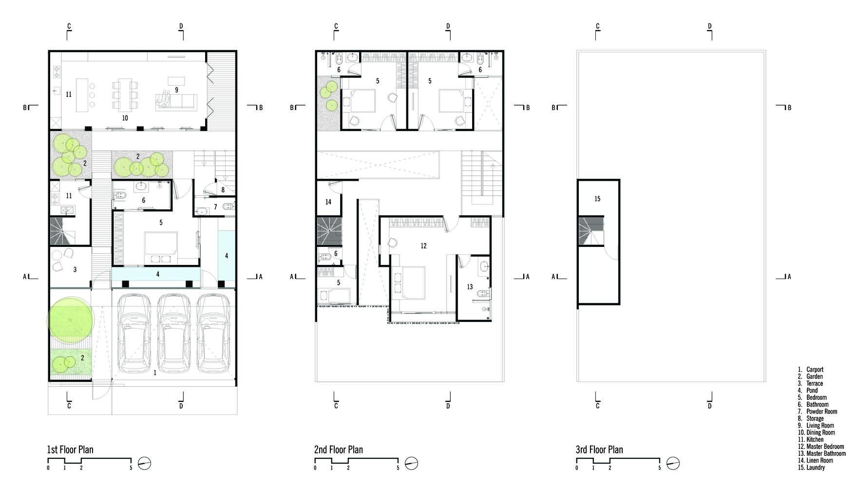 Denah Rumah Beton karya Parisauli Arsitek (Sumber: archdaily.com)