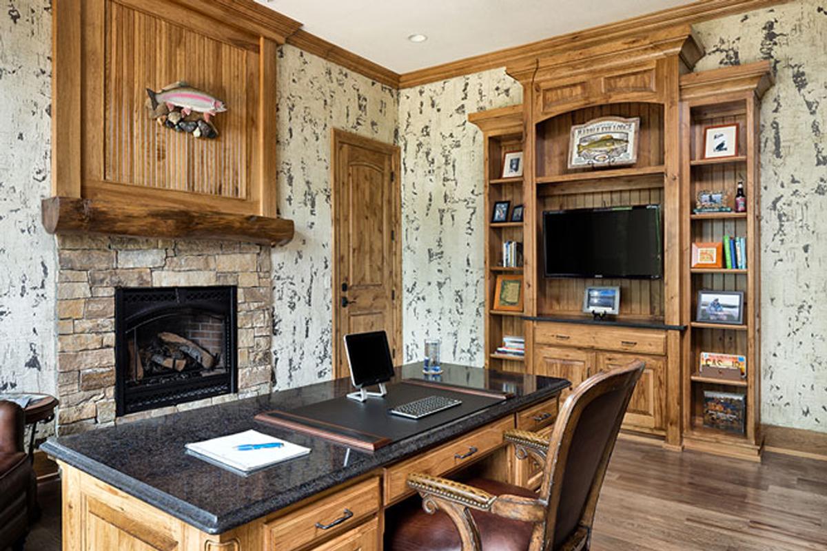 Desain Interior Home office keren gaya rustic