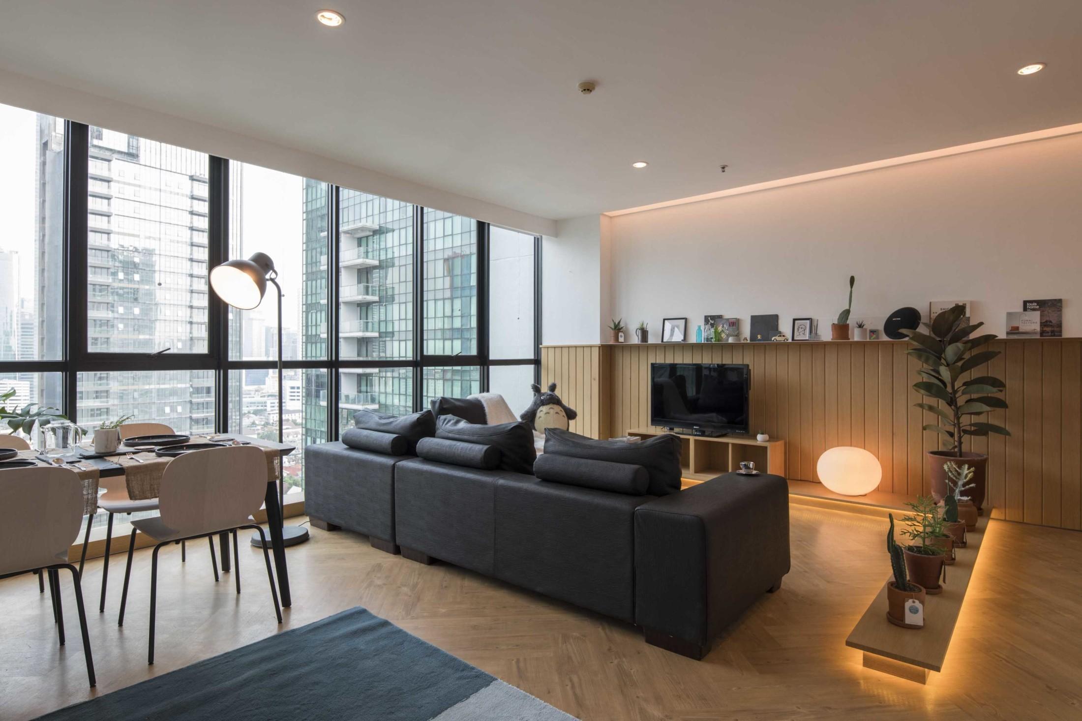 Permainan garis dan geometri untuk menghadirkan keindahan gaya minimalis di apartemen (Sumber: arsitag.com)