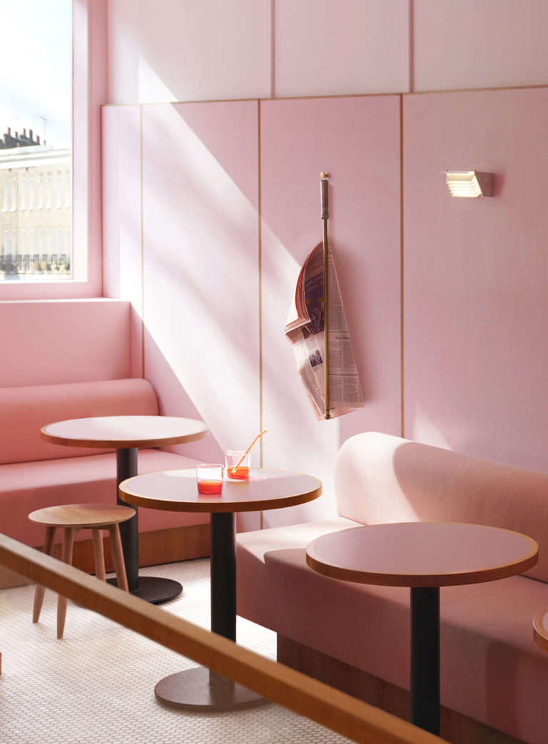 Meja dan kursi interior Humble Pizza karya Child Studio, via design-milk.com