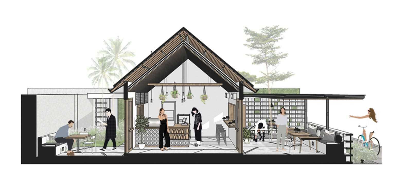 Bentuk bangunan kafe memanjang (Sumber: archdaily.com)
