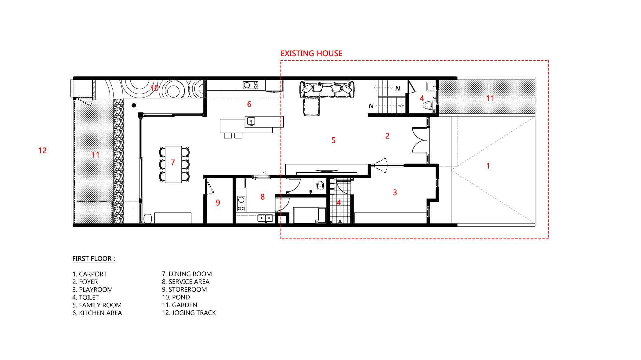 Denah lantai satu yang berisi ruang utama seperti ruang keluarga, ruang makan, dan dapur (Dok: Atelier ARA)