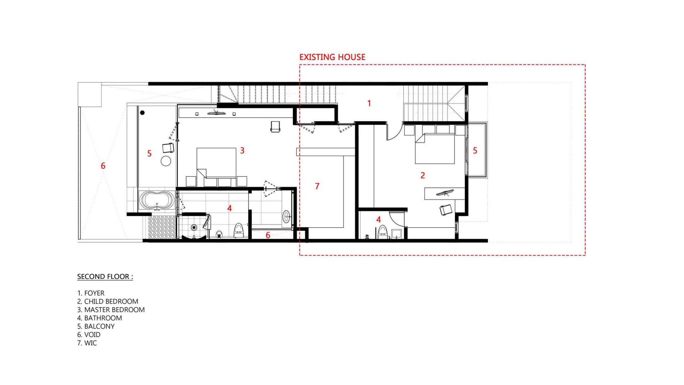 Denah lantai dua dengan dua kamar tidur (Dok: Atelier ARA)