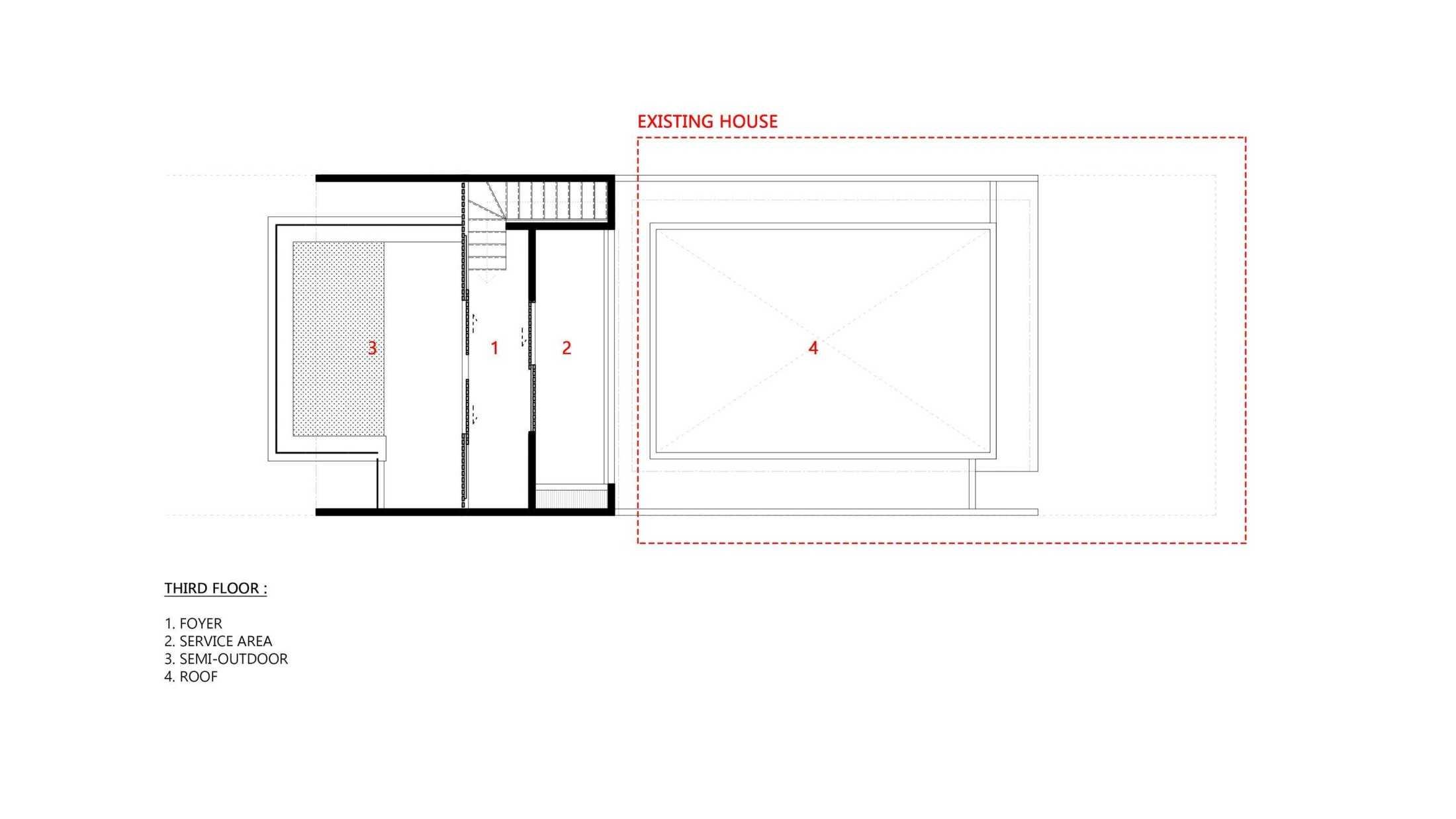 Denah lantai tiga yang dilengkapi service area (Dok: Atelier ARA)