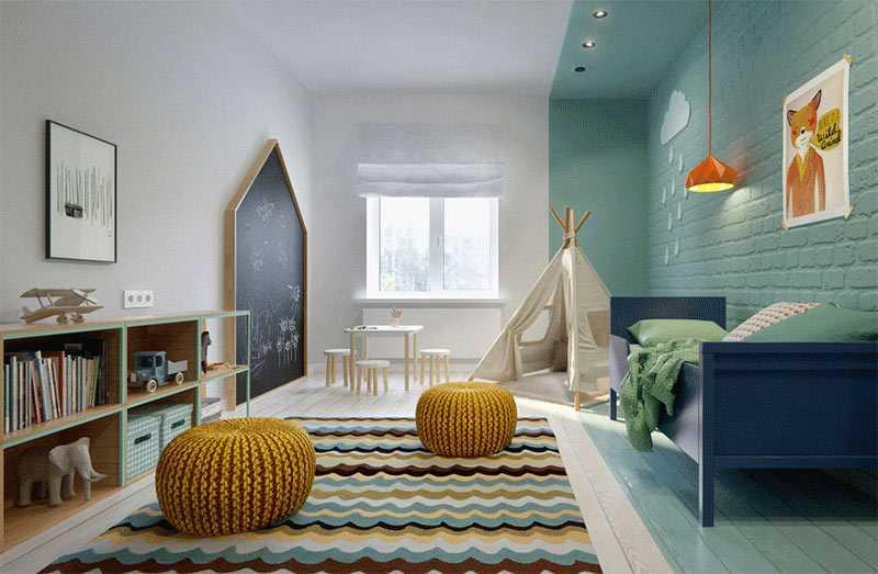 Kamar tidur anak dengan blackboard besar, viaint2architecture.ru