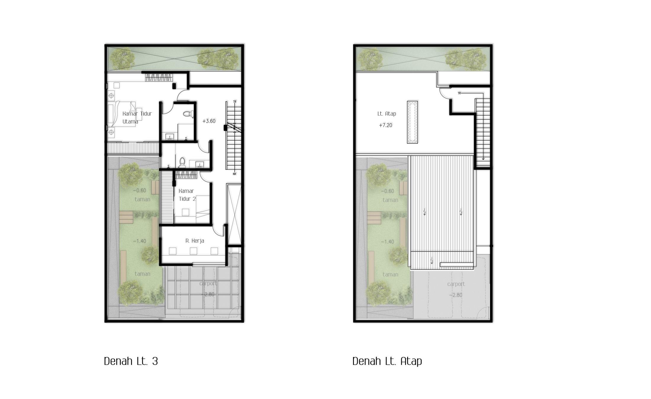 Denah lantai 3 dan rooftop rumah H House // (Dok: Arete Studio)