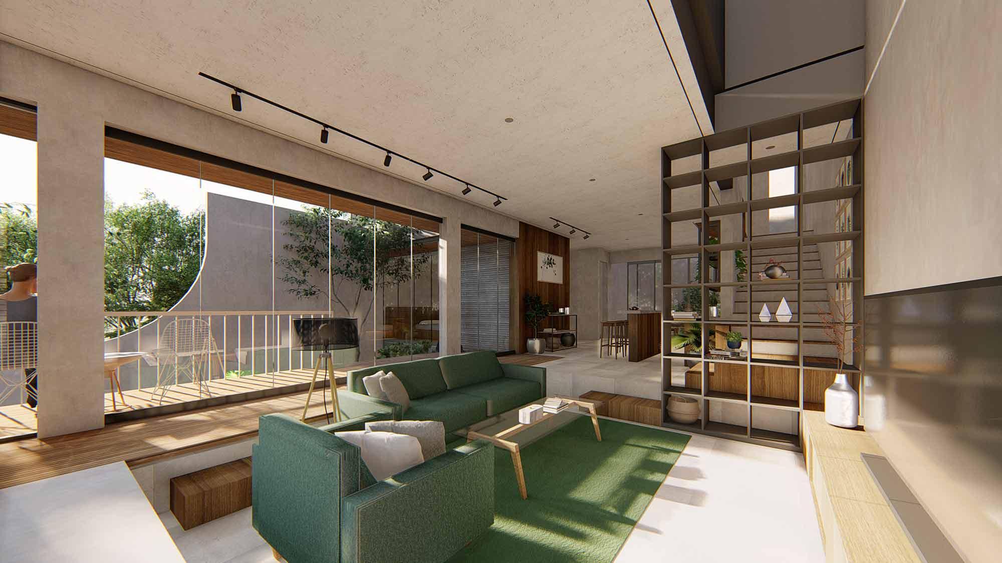Ruang keluarga H House // (Dok: Arete Studio)
