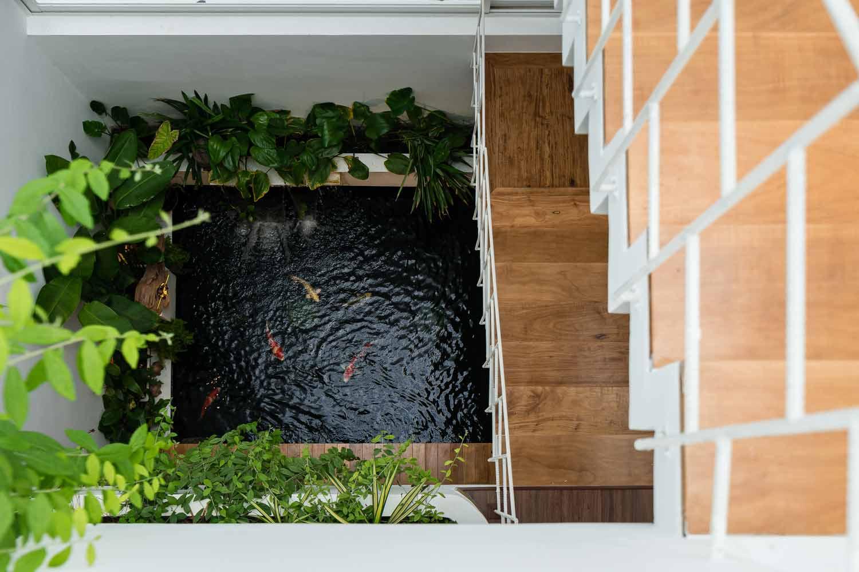 Area kolam ikan sekaligus sarana sirkulasi udara dalam rumah karya Q Concept // archdaily.com