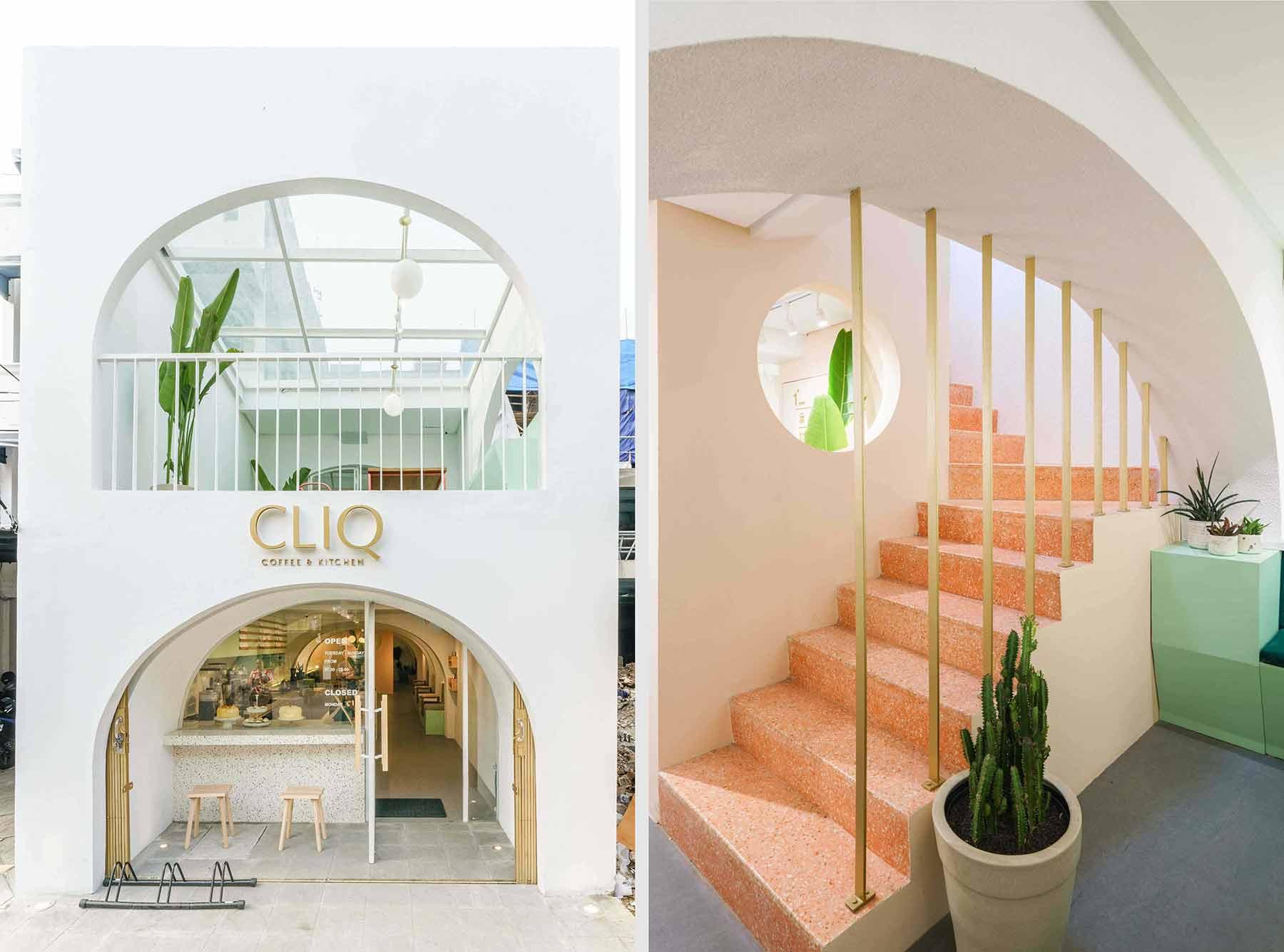 Desain coffee shop dengan formasi ruang unik berbentuk melengkung, karya Interra //arsitag.com