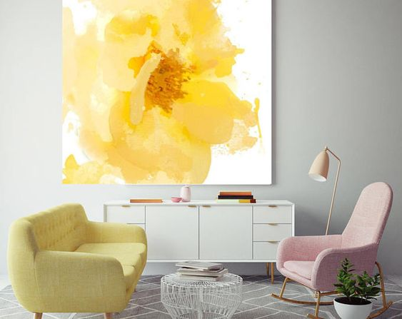 Ruang keluarga warna kuning karya Jonathan Leijonhufvud // etsy.com