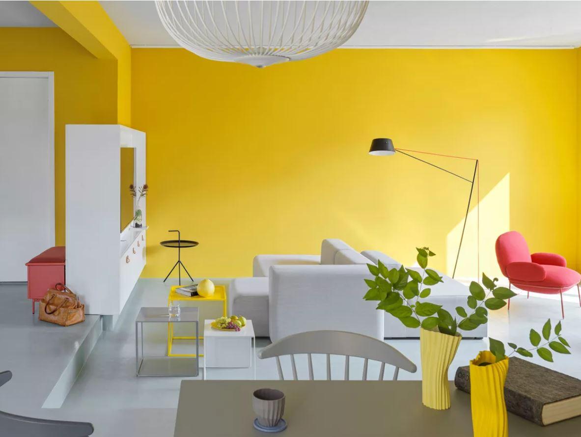 Desain Ceria Ruang Keluarga dengan Sentuhan Warna Kuning | Foto artikel Arsitag
