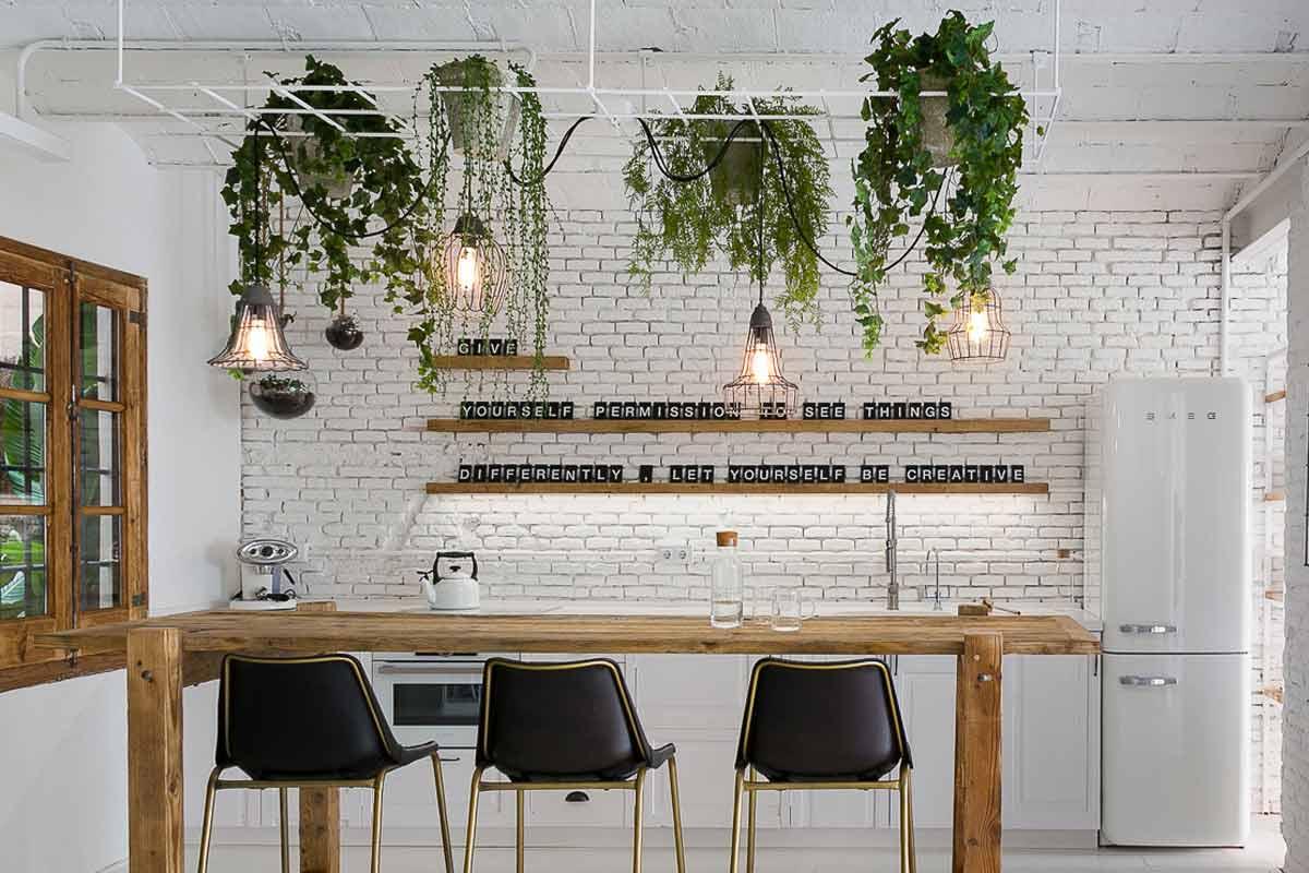 Desain tanaman gantung menghiasi meja makan karya Davide Pellegrini // martacastellano.com