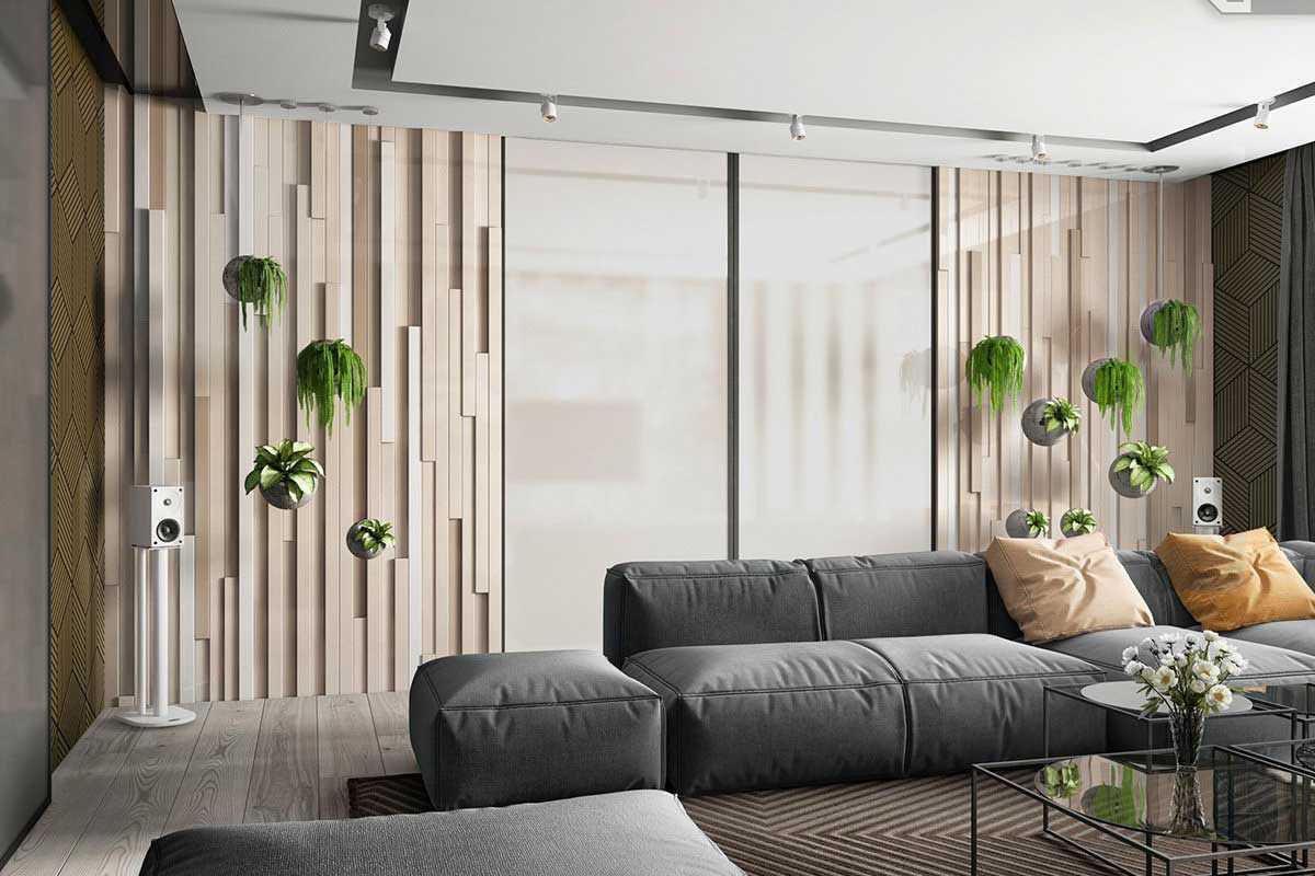Desain tanaman gantung di ruang keluarga, karya BIM Group // home-designing.com