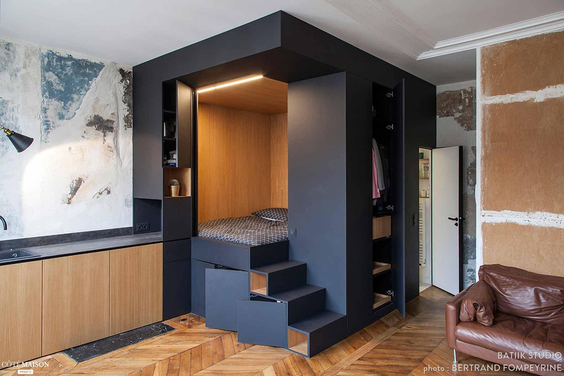 Interior kamar tidur hemat ruang yang kreatif karya Bertrand Fompeyrine // projets.cotemaison.fr