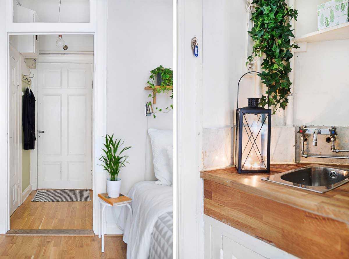 Lorong apartemen studio minimalis // home-designing.com
