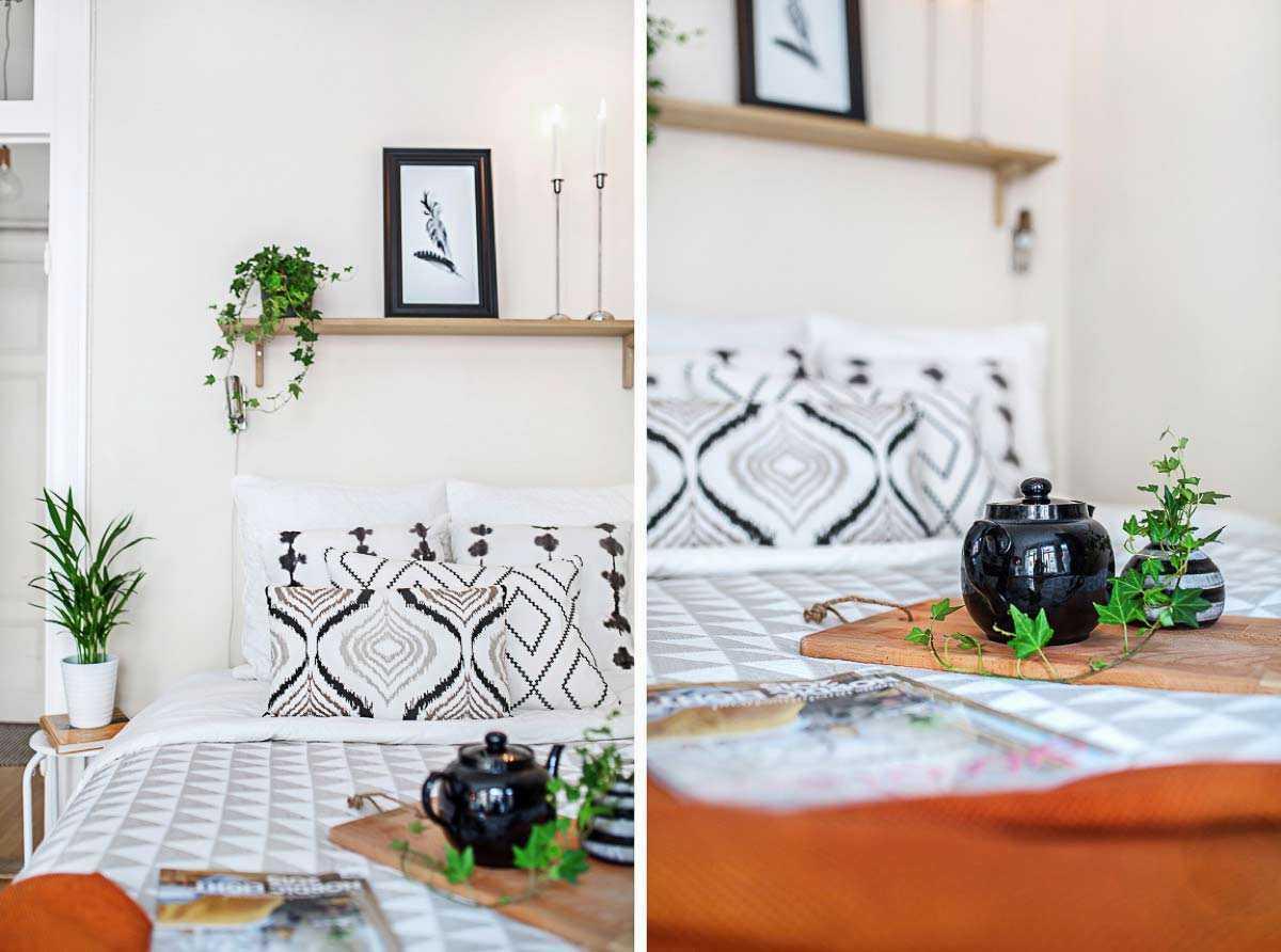 Tanaman hijau mini sebagai dekorasi apartemen studio minimalis // home-designing.com