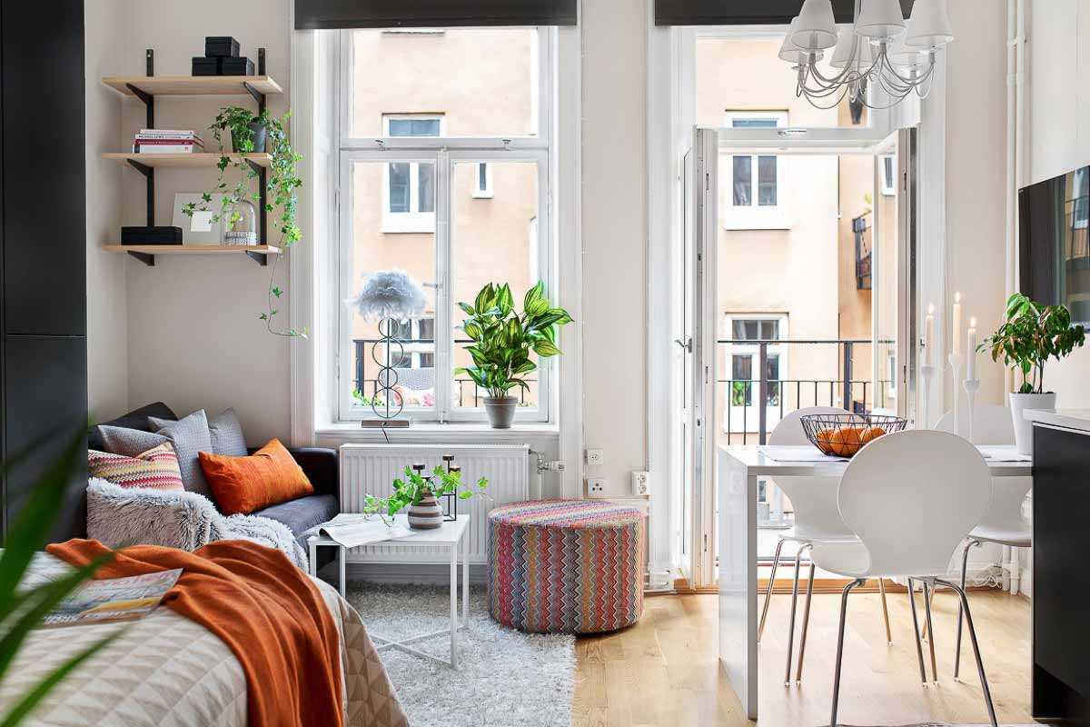 Warna-warni cerah apartemen studio // home-designing.com