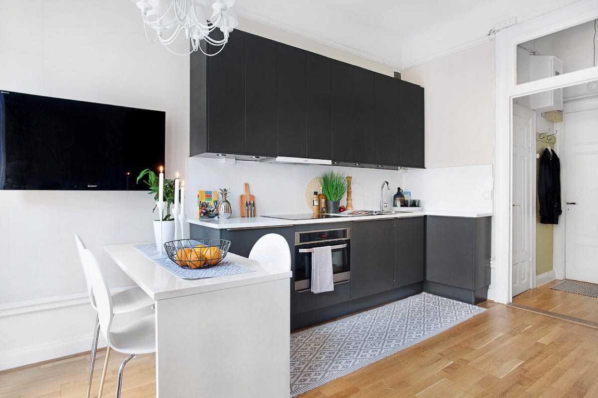 Meja makan mungil apartemen studio minimalis // home-designing.com