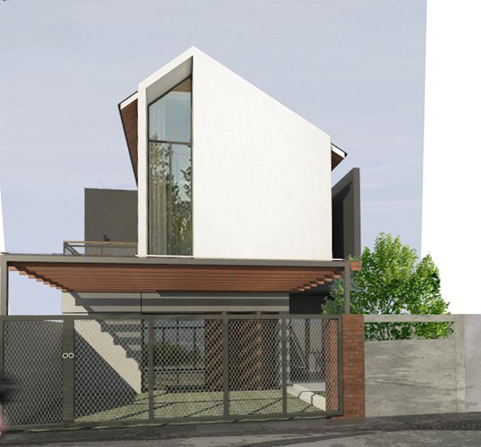 Eksterior rumah Devlin yang konsisten menggunakan warna putih dan tekstur kayu // Kenali's Studio